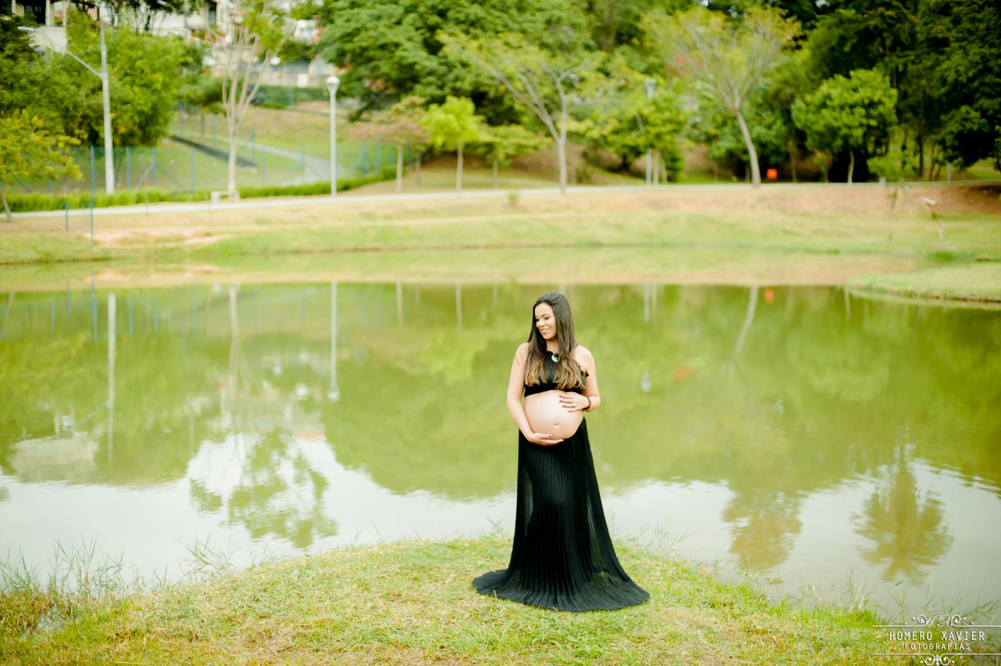 fotografia gestante em parque em BH