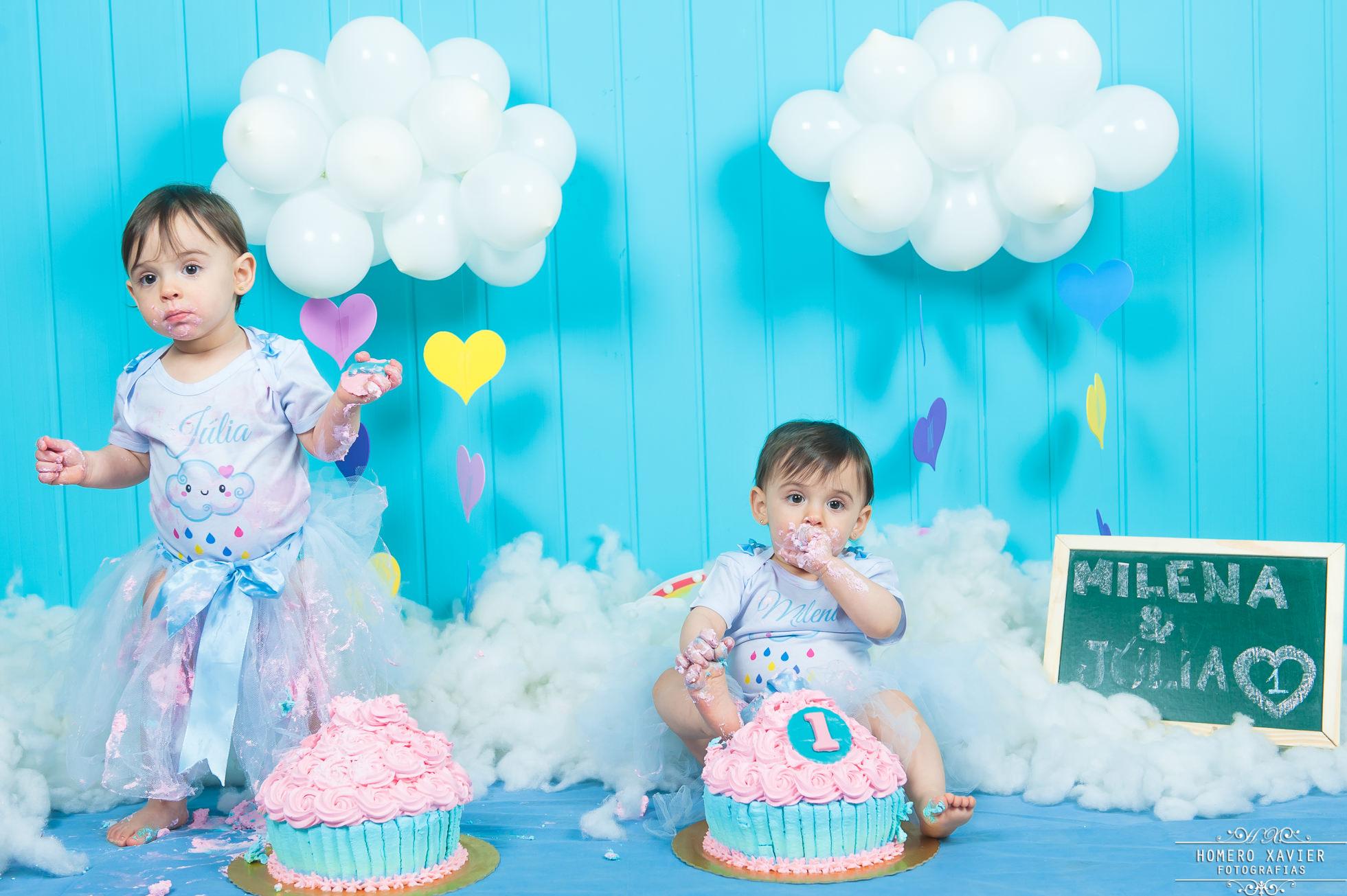 fotografia smash the cake em studio Chuva de Amor BH