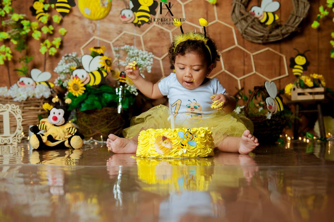 ensaio Smash the Cake Tema Abelhinha em BH